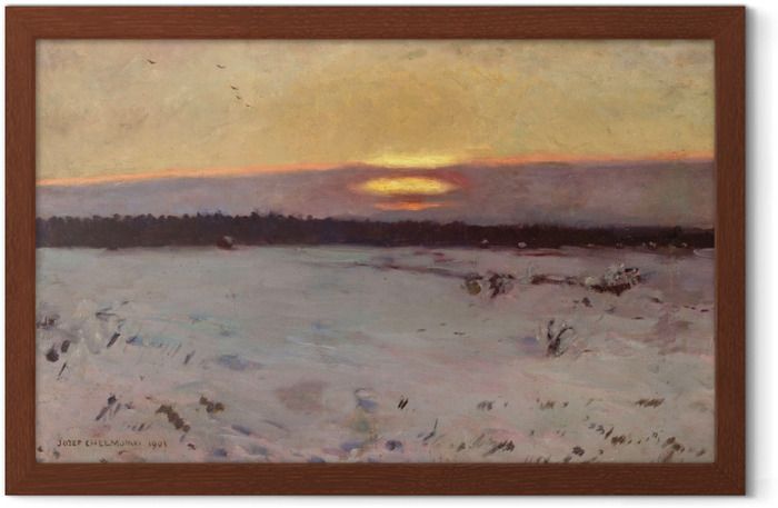 Gerahmtes Poster Józef Chełmoński - Sonnenuntergang im Winter - Reproductions