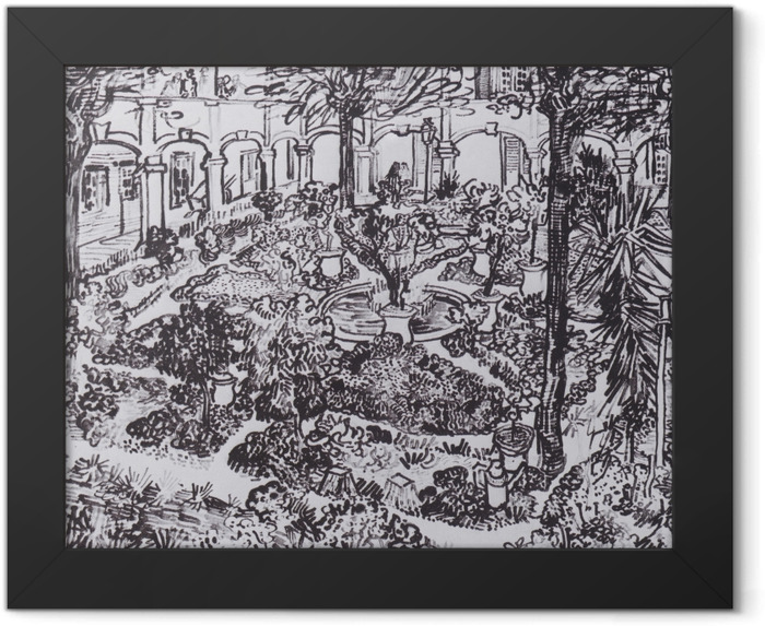 Gerahmtes Poster Vincent van Gogh - Der Hof des Hospitals - Reproductions