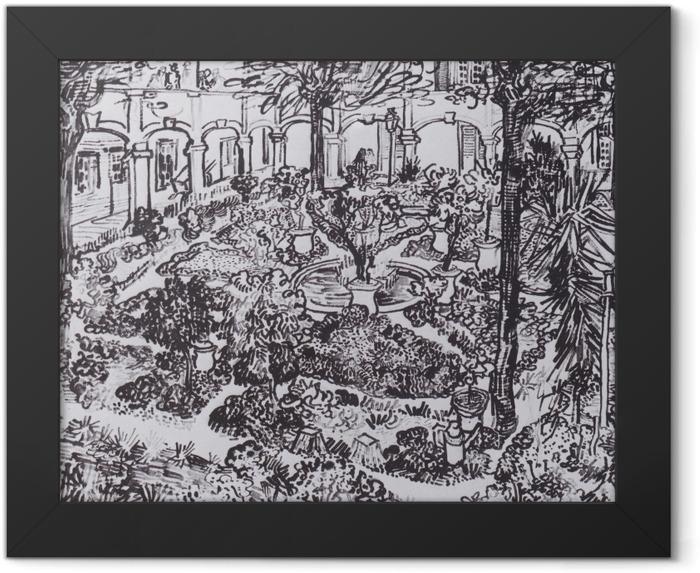 Plakat w ramie Vincent van Gogh - Dziedziniec szpitala - Reproductions