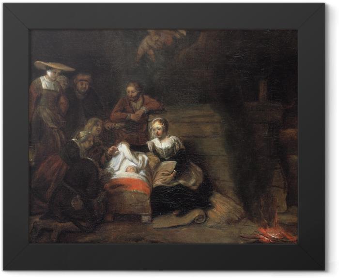 Gerahmtes Poster Rembrandt - Anbetung der Hirten - Reproduktion