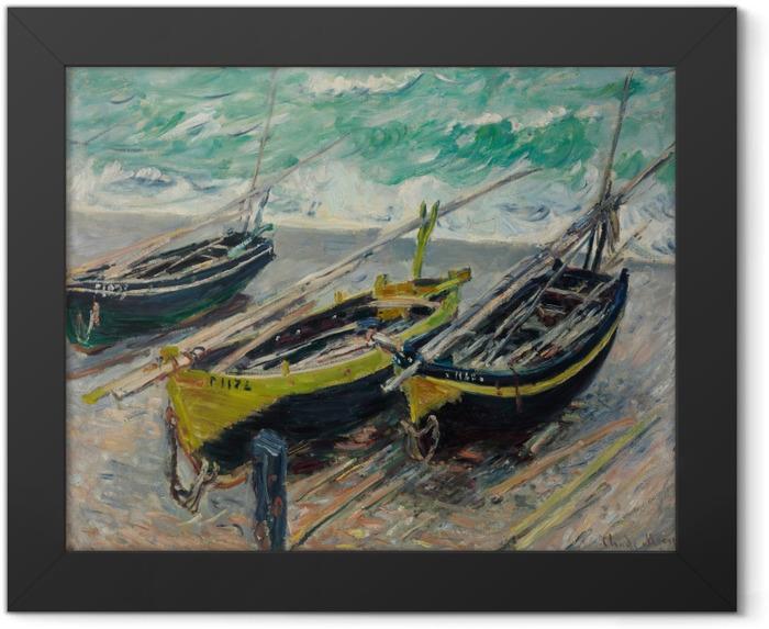 Gerahmtes Poster Claude Monet - Drei Fischerboote - Reproduktion