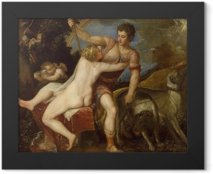 Plakat w ramie Tycjan - Wenus i Adonis - Reprodukcje