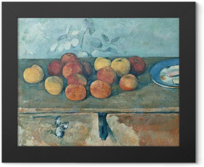 Gerahmtes Poster Paul Cézanne - Stillleben mit Äpfeln und Biskuits - Reproduktion
