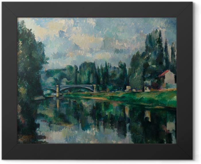Gerahmtes Poster Paul Cézanne - Ufer der Marne (Brücke über die Marne in Créteil) - Reproduktion