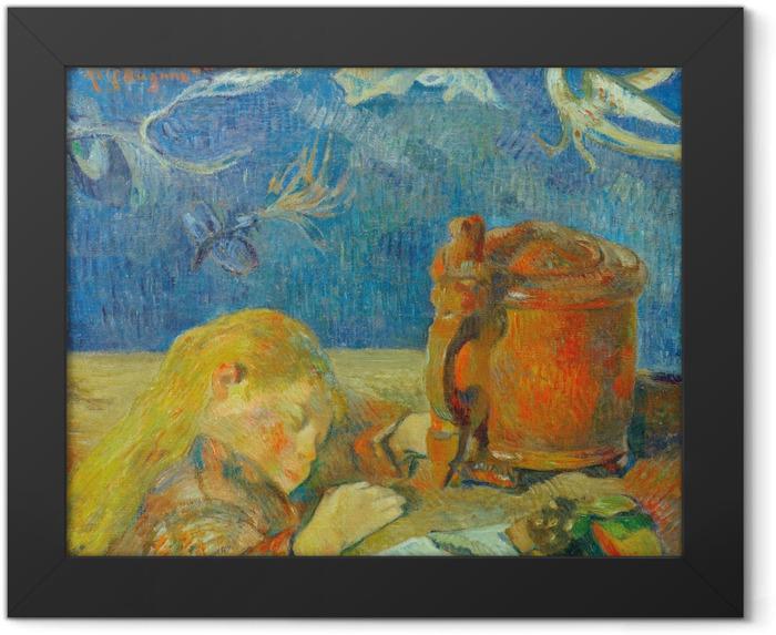 Gerahmtes Poster Paul Gauguin - Porträt Clovis Gauguin (Schlafendes Kind) - Reproduktion