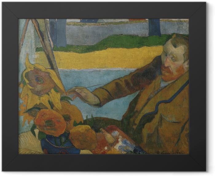 Gerahmtes Poster Paul Gauguin - Porträt des Vincent van Gogh, Sonnenblumen malend - Reproduktion