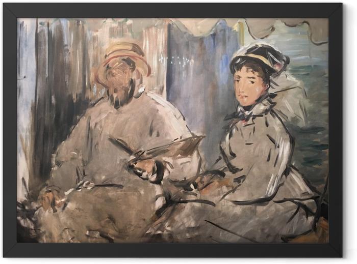 Gerahmtes Poster Édouard Manet - Der Maler Monet in seinem Atelier - Reproductions