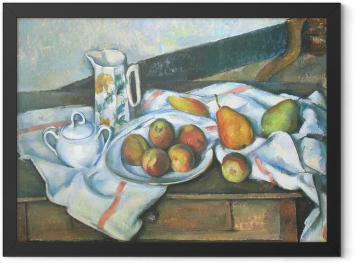 Gerahmtes Poster Paul Cézanne - Stillleben mit Pfirsichen und Birnen - Reproduktion