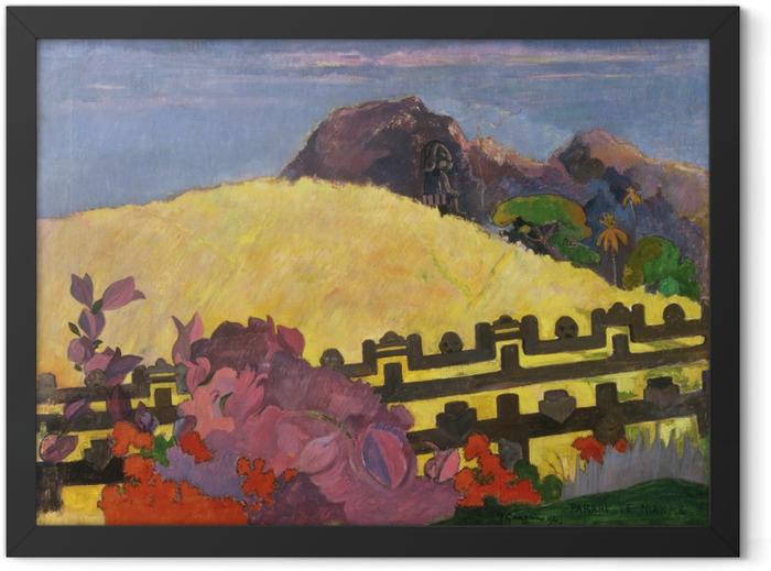 Gerahmtes Poster Paul Gauguin - Parahi Te Marae (Dort ist der Tempel) - Reproduktion