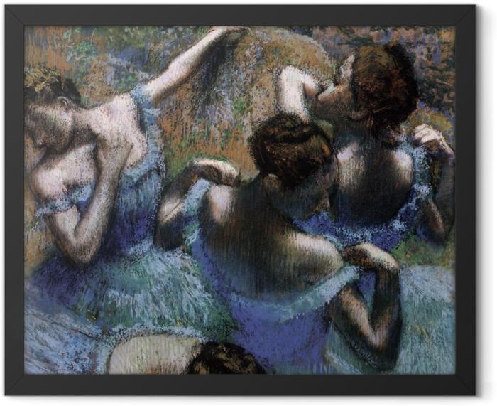 Gerahmtes Poster Edgar Degas - Tänzerinnen in Blau - Reproduktion