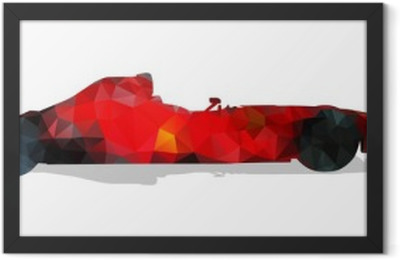 Formula racing car. Red abstract geometric vector illustration. Framed Poster