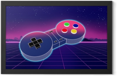 retro game controller on colorful background 3d illustration Framed Poster