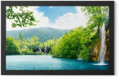 waterfall in deep forest Framed Poster