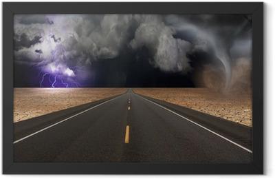 Tornado funnel in desert road landscape Framed Poster