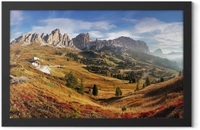 Mountain panorama in Italy Alps dolomites - Passo Gardena Framed Poster
