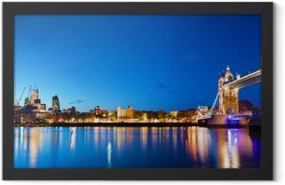Tower Bridge in London, the UK at night Framed Poster