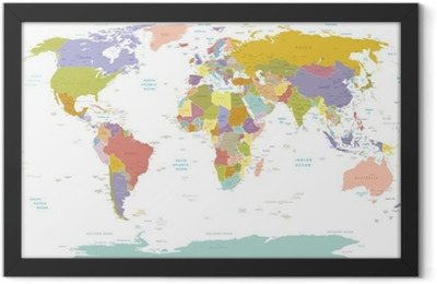 High Detail World map.Layers used. Framed Poster
