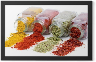 Spice pouring out of set of spice jars Framed Poster