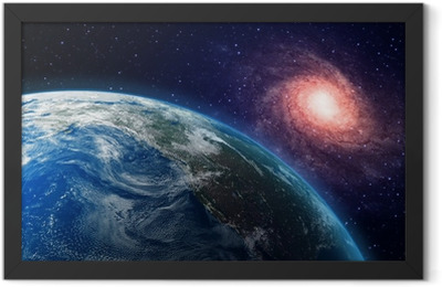 Earth and a spiral galaxy in the background Framed Poster