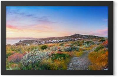 Sunset on the Mediterranean vegetation Framed Poster