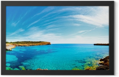 Panorama of the bay with rocky shores, Mallorca, Spain Framed Poster