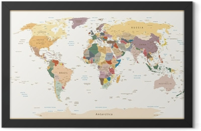 Highly Detailed Political World Map Vintage Colors Framed Poster
