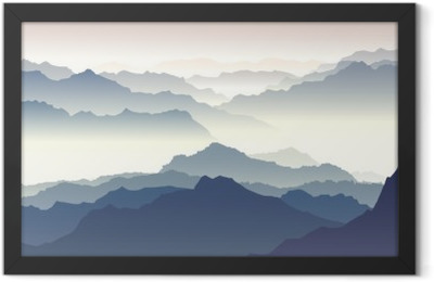 Horizontal illustration of twilight in mountains. Framed Poster