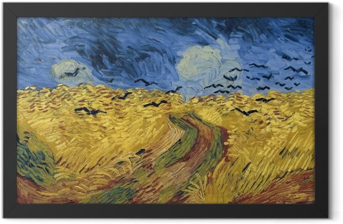 Gerahmtes Poster Vincent van Gogh - Kornfeld mit Krähen - Reproductions