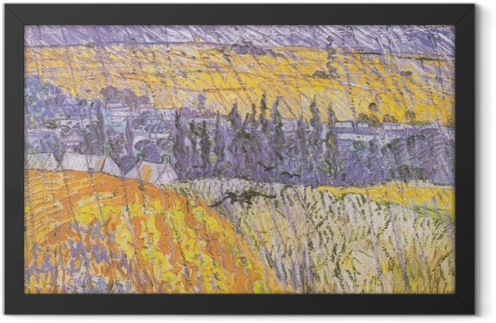 Gerahmtes Poster Vincent van Gogh - Auvers im Regen - Reproductions