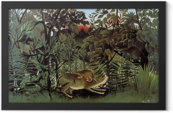 Henri Rousseau - The Hungry Lion Throws Itself on the Antilope Framed Poster - Reproductions