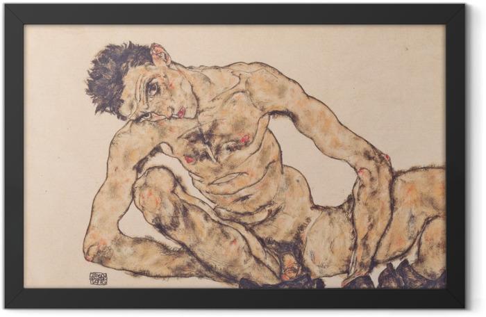 Poster en cadre Egon Schiele - Autoportrait nu - Reproductions