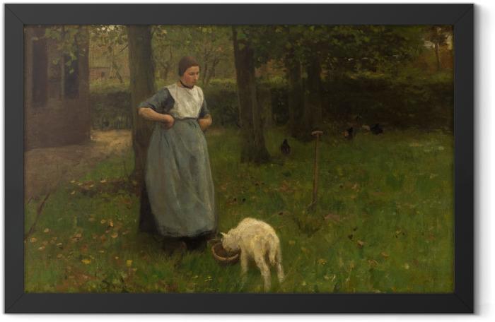 Plakat w ramie Anton Mauve - Kobieta z Laren z owcą - Reproductions