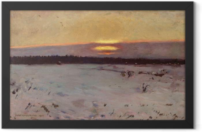 Poster en cadre Józef Chełmoński - Coucher de soleil en hiver - Reproductions