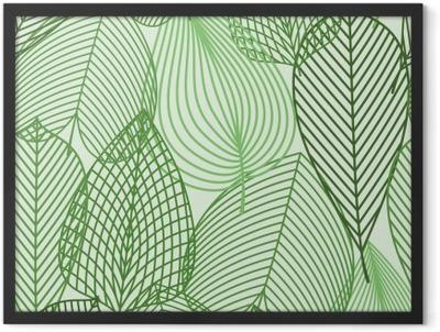 Spring green leaves seamless pattern Framed Poster