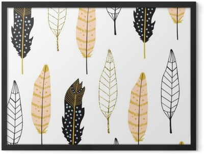 Hand Drawn Feathers Seamless Pattern Framed Poster