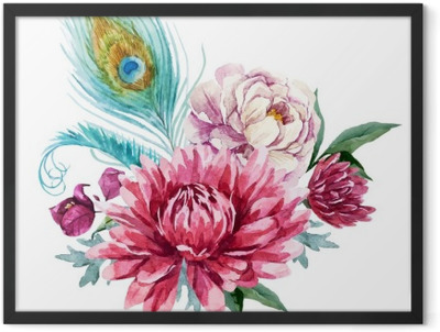 Watercolor floral composition Framed Poster