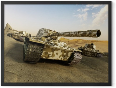 Tank in camouflage moving at the desert Framed Poster