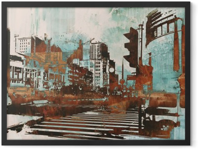 urban cityscape with abstract grunge,illustration painting Framed Poster