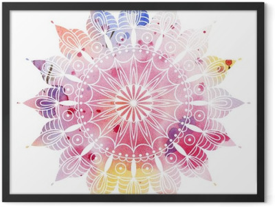 Mandala colorful watercolor. Beautiful round pattern. Detailed abstract pattern. Decorative isolated. Framed Poster
