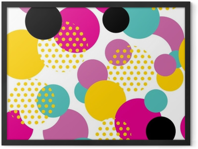 Seamless geometric pattern in retro 80s style. Pop art circle pattern on white background. Framed Poster