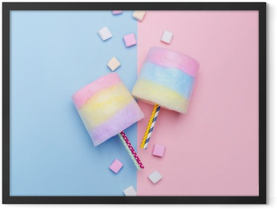 Multicolored Cotton candy. Pastel marshmallows. Minimal style. Pastel background Framed Poster