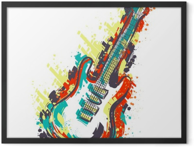 Electric guitar. Hand drawn grunge style art. Retro banner, card, t-shirt, bag, print, poster.Vintage colorful hand drawn vector illustration Framed Poster