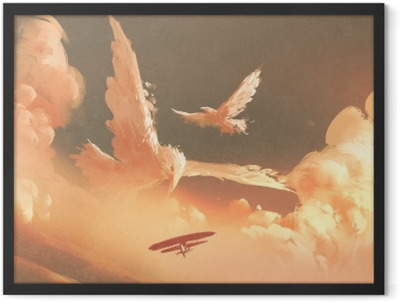birds shaped cloud in sunset sky,illustration painting Framed Poster