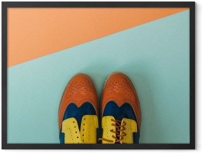 Flat lay fashion set: colored vintage shoes on colored background. Top view. Framed Poster