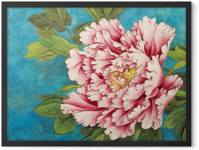 3e1ffe40 pink peony on a blue background Framed Poster