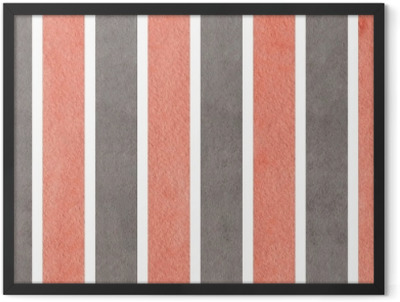 Watercolor pink and grey striped background. Framed Poster