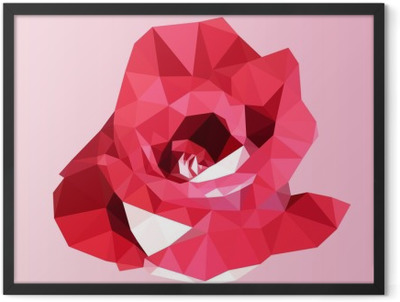 polygonal red rose. poly low geometric triangle flower vector Framed Poster