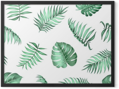 Topical palm leaves on seamless pattern for fabric texture. Vector illustration. Framed Poster