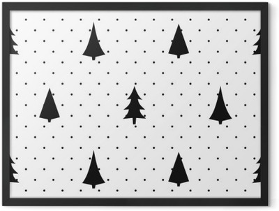 Black and white simple seamless Christmas pattern - varied Xmas trees. Happy New Year polka dots background. Vector design for textile, wallpaper, fabric, wrapping paper. Framed Poster