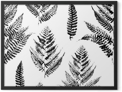 ff5d9ceb Seamless pattern with paint prints of fern leaves Framed Poster